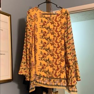 yellow floral max studio long sleeve blouse